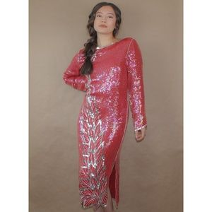 (279) vtg 70s sequin silk glam red party dress